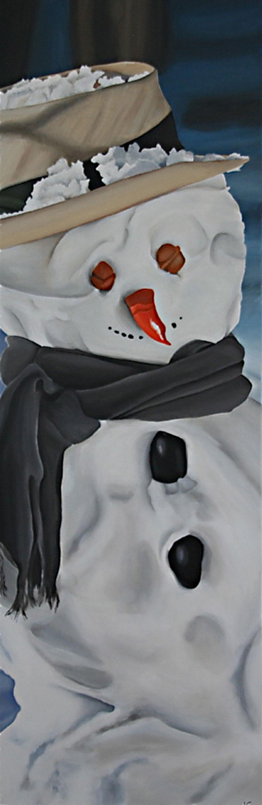 Schneemann mit Schal und Hut